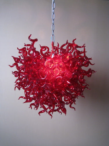 Luxurious Red Flower Chandelier Hand Blown Murano Glass for Bar