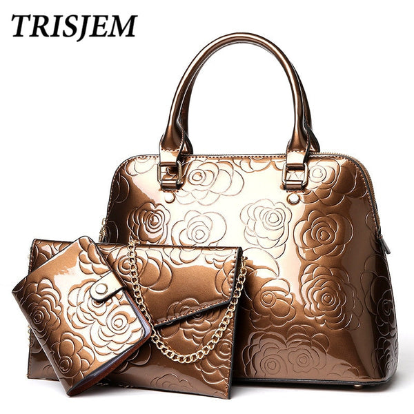 Luxury Brand Luxury Purse And Handbag Women Composite Bag Flower Female Large Capacity Tote Bag Pu Shoulder Bags 3pcs Set Purple