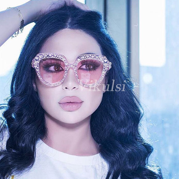 Luxury Heart-shaped Rhinestone Sunglasses Women Crystal Eyewear 2018 Italy Brand Designer Cat Eye Sun Glasses Women Retro Shades