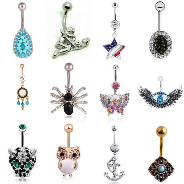 Luxury Leo Head Pendant Woman Belly Button Ring Crystal Gem Owl Anti-allergy Stainless Steel Sexy Lady Piercing Body Jewelry