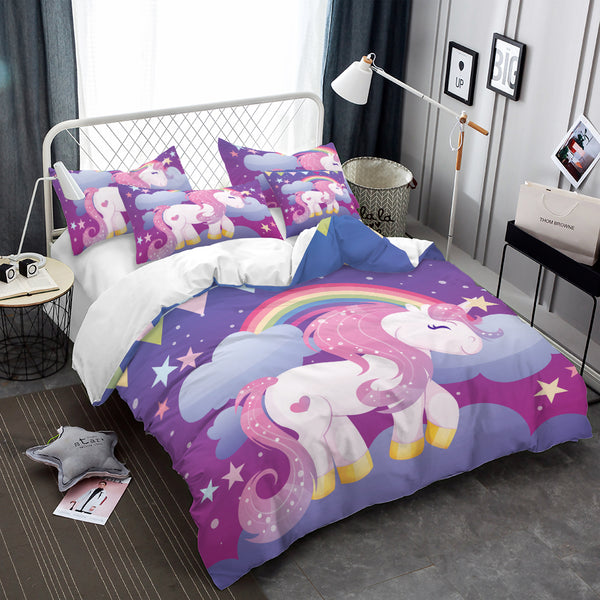 Luxury Princess Bedding Set Cartoon Unicorn Duvet Cover Colorful bedclothes Bedding Cover Pillowcase Home Decor ropa de cama D49
