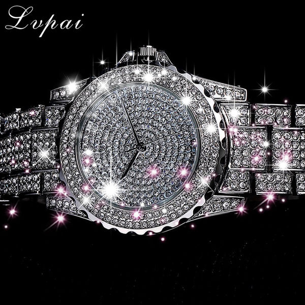 Top Brand Silver Luxury Women Watch Rhinestone Ceramic Crystal Quartz