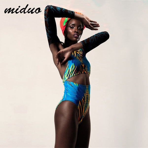 MIDUO Women Bathing Suit Retro Swimsuit Digital Printing Sexy Transparent Long Sleeve Swimwear Bathing Suits Brazilian Bikini