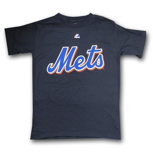 MLB Youth New York Mets Official Wordmark Black Short Sleeve Basic Tee By Majestic (Black)  Small