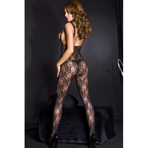 Lace Peek - a - Boo Crotchless Bodystocking W / Satin Bow - One Size - Black