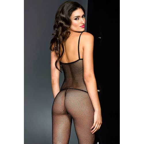 Fishnet Crotchless Bodystocking - One Size - Black
