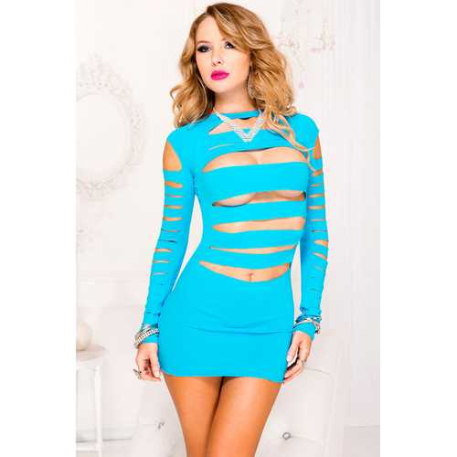 Opaque Long Sleeve Ripped Front Mini Dress - One Size - Neon Blue