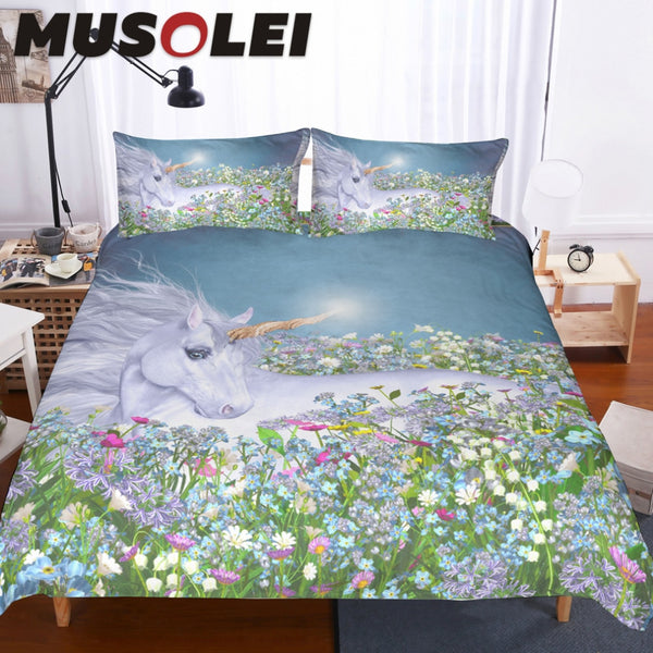 MUSOLEI 3d illustration of a magical unicorn in a sea of flower Bedding set for girl,Duvet cover set King size Home Textiles 3pc