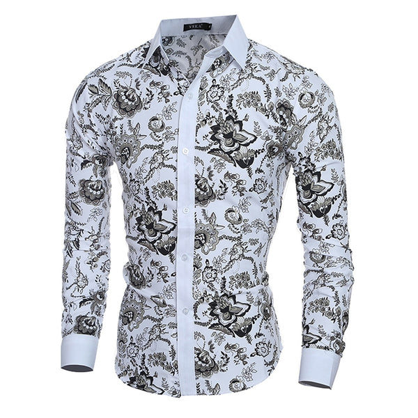 Male Floral Print Dress Shirts Mens Shirt Slim Fit Ethnic Flowers Long Sleeve Casual Cotton Fashion Spring Tops Men Shirts