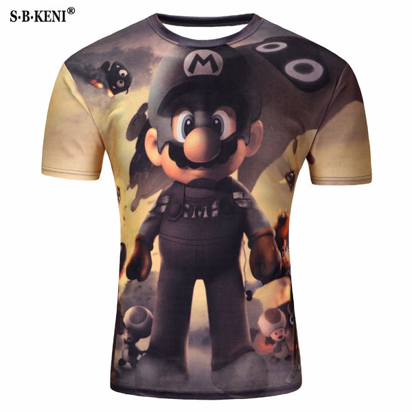 e3fefae71 Mario T shirt Men Fashion Cartoon Printing Women T-Shirts Cute 3D Male  Funny Tshirt