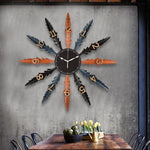 Mediterranean Style Hand Work Metal Big Wall Clocks Cafe Art Auspicious Decoration Crafts Needle Quartz Xuan Guan Big Clock Gift