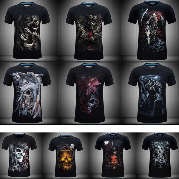 2c48fafb7 Men T Shirts Fashion Design Short Sleeve Casual Tops Skull/Rock/Metal/Death