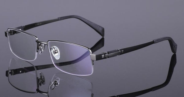 Men's 100% Pure Titanium Reading Glasses Half Rimless Reader +50 +75 +100 +125 +150 +175 +200 +225 +250 +275 +300 +325 +350 +375