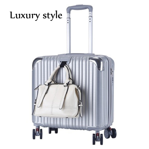 Men's Business Travel Trolley Case 18 Inch Luggage Women's Luxury Rolling Wheel Suitcase Cross Section Lightweight ABS  Luggage