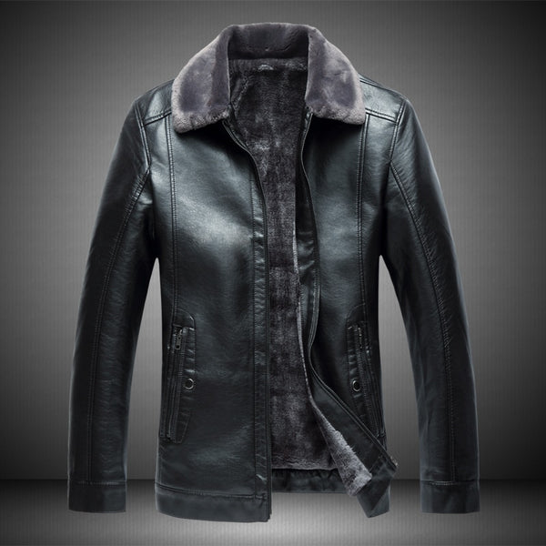 Men's PU leather jacket, winter plus velvet thickening business men's slim jacket, plus fertilizer XL lapel warm leather jacket