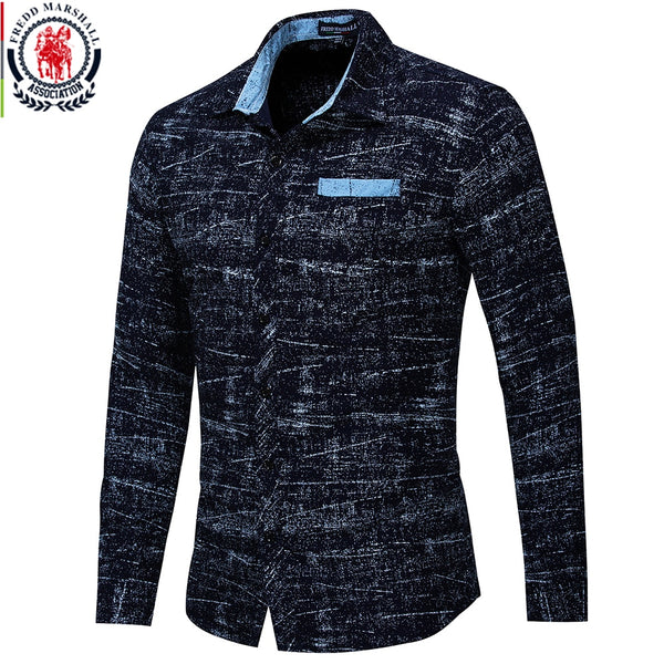 Men shirt Autumn 2018 New Long Sleeve Casual Business Mens Dress Shirt All Over Printed Luxury Shirt Brand Mens Clothes EU size