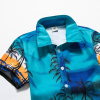 Mens Hawaiian Style Shirts Short Sleeve Tropical Print Sport Shirt Slim Fit Floral Blouse Men/Women Couple Brand Beach Clothing