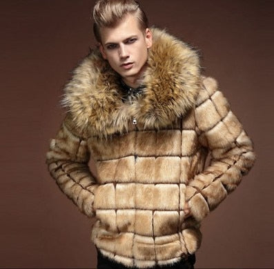Mens Nagymaros Collar Fur Coat Personality Artificial Leather Grass  Rabbit Fur Jacket Large Size Turn Down Collar Outwear J529