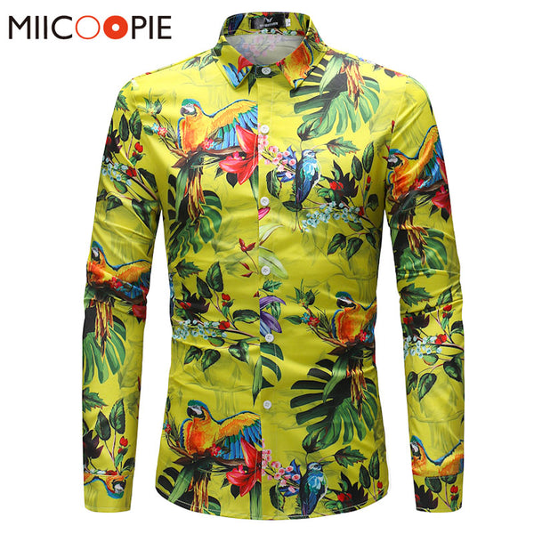 04d93c57ec Mens Shirt Brand Clothing Parrot Printing Beach Leisure Fashion Long Sleeve  Casual Shirt Male Camisa Masculina