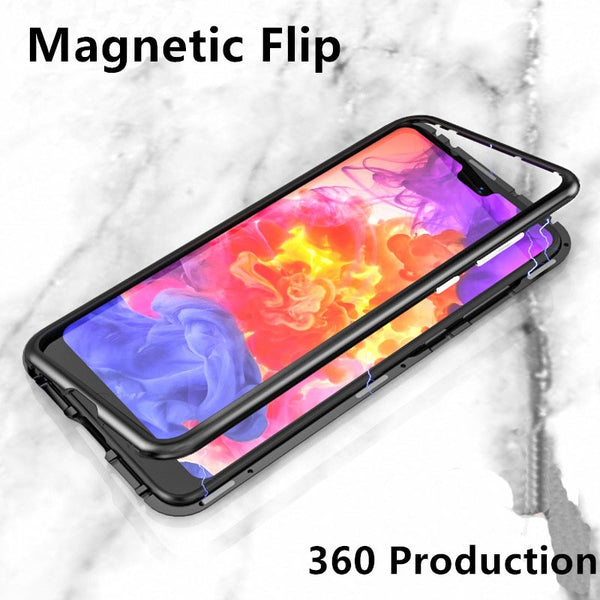 Metal Magnetic Adsorption Case For iphone x 7 8 Plus Tempered Glass Magnet Case For Samsung Galaxy S8 S9 Plus Note 8 Ultra Cover