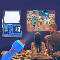 Mini Animation Projector Educational Light-up Toys Theater Fairy Tale Projector Glow Toy Kids Sleeping Stories for Children Gift