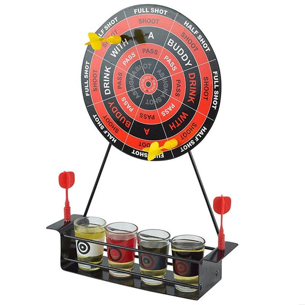 Mini Drinking Game Dart Shot Party Games Roulette Bar Game With 4 Glass Cups And 1 Target Rack Novelty Gifts