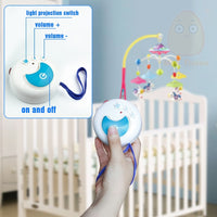 MiniTudou Baby Toys 0-12 Months Crib Mobile Musical Bed Bell With Animal Rattles Projection Cartoon Early Learning Kids Toy