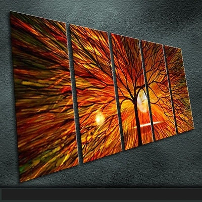Modern Art Abstract Original Art Indoor Decor Metal Wall Art Abstract Painting Sculpture Indoor Outdoor in 5 pieces