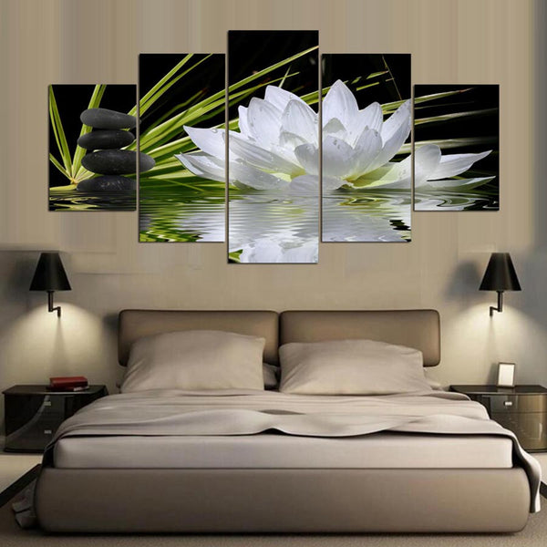 Modern Home Wall Art Decoration Frame Modular Pictures 5 Pieces White Lotus Flower Water Cobblestone HD Printed Canvas Paintings