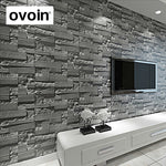 Modern Stacked Brick 3D Stone Wallpaper Roll. Size: 32.8 ft long by 1.73 ft wide.