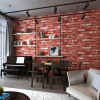 Modern Vintage Brick Textured Wallpaper Decor Embossed 3D Roll. 1 Roll Sizes: Length 33 feet X Width 1.74 feet. Product Square 57.4  sq.ft