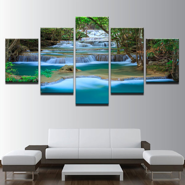 Modular Canvas Wall Art HD Prints Pictures Home Decor 5 Pieces Landscape Waterfall Posters Forest Trees Lake Paintings Framework