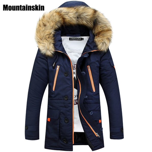 Mountainskin Winter Men's Long Parkas Thick Hooded Fur Collar Coats Men Overcoats Casual Army Jackets Male Brand Clothing SA026