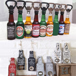 Multifunctional Bottle Opener Creative Wine Bottle Shape Magnetic Stainless Steel Retro Wooden Beer Bottle Opener Wall Hanging