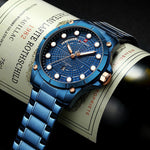 Mens Watch Military Blue Dial Full Steel Belt Watches Mens 2019 Luxury Brand Man Watches Design Creative Waterproof