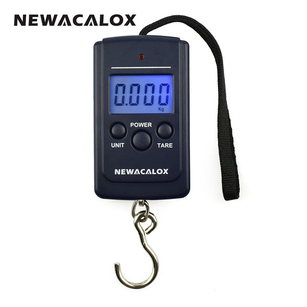 NEWACALOX 40kg x 10g Mini Digital Scale for Fishing Luggage Travel Weighting Steelyard Hanging Electronic Hook Scale