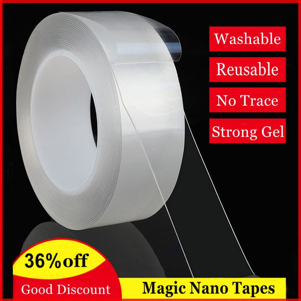 Magic Tape Double Sided Gel Grip Tape Multifunction Transparent Adhesive Tapes Washable Reusable Strong Silicone Tape