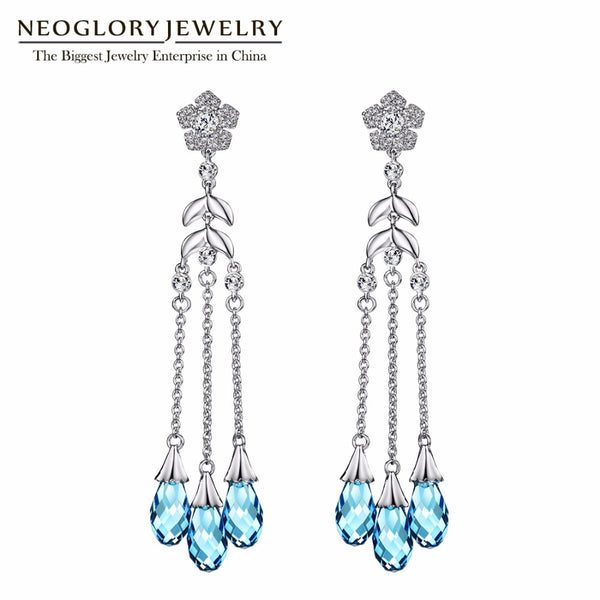 Neoglory Long Water Droplets Fashion Dangle Earrings For Women 2019 Wedding Jewelry MS Embellished with Crystals from Swarovski