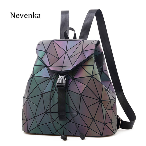 Nevenka Luminous Backpack Women Leather Geometric Backpacks Diamond Lattice Drawstring Backpacks Holographic Backpack Purse 2018
