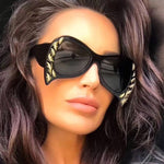 New 2018 Cool Luxury Pilot Sunglasses Women Retro Italy Brand Designer Oversized Cat Eye Sun Glasses For Female Bat Shades UV400