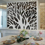 New 3D Large Tree Mirror Wall Stickers Mirror Stickers for TV Backdrop Acrylic Autocollant Mural Home Living Room Wall Decals