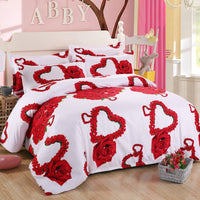 20% OFF 3D Red Love Roses Bedding Set 4pcs: Duvet Cover Sheet Pillowcase. Coupon Code:: ROSES15