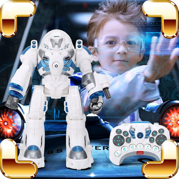 New Arrival Gift RS RC Robot Remote Control Toys Machine Intelligence Dance Walk Figure Toy LED Radio Control Weapon Present