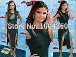 New Arrival Green Selena Gomez Dress 2018 Celebrity Dresses Scoop Sexy Slit Mid Calf Red carpet Dress Party Dresses ACS004 1