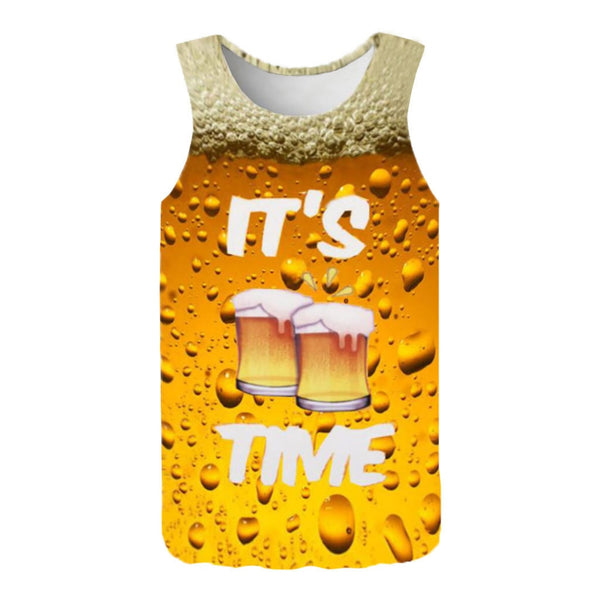 New Beer Print T Shirt Men's Summer Fashion 3D Printed Sleeveless Top Leisure Sports Vest Blouse Top Unisex Outfit Clothing Drop
