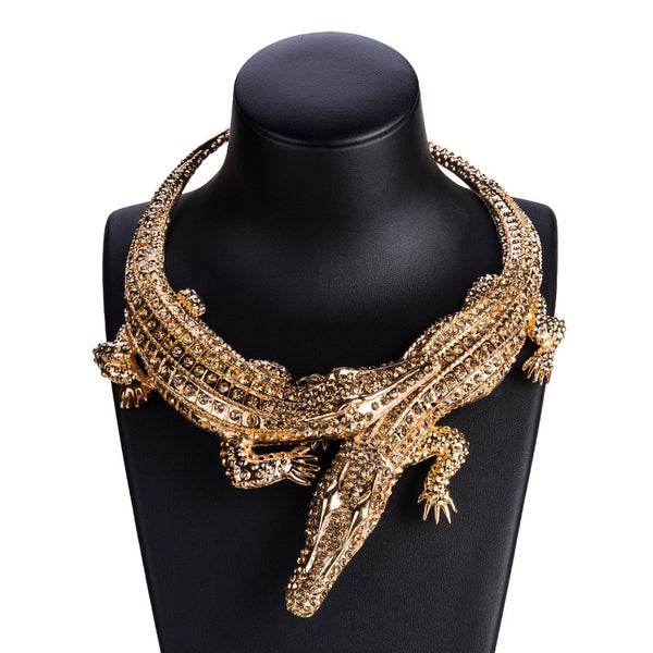 New Design Exaggerated Punk Full Rhinestone Crocodile Necklace for Women Fashion Trend Statement Necklace Collar Bijoux