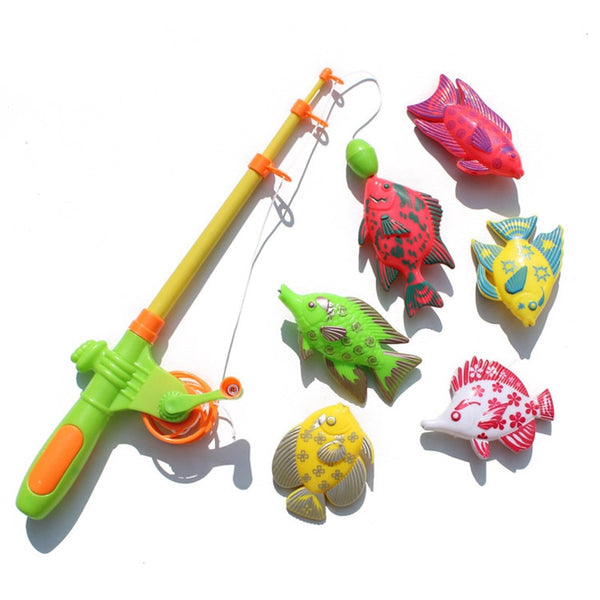 New Fashion 6 Fishes+one Fishing Rod Magnetic Toy Outdoor Fun Sports Children's  Fishing Toy with  Family Game Gift for Kids
