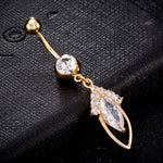 New Fashion Body Jewelry Women Sexy Crystal Feather Dangle Belly Button Rings Stainless Steel Navel Piercings