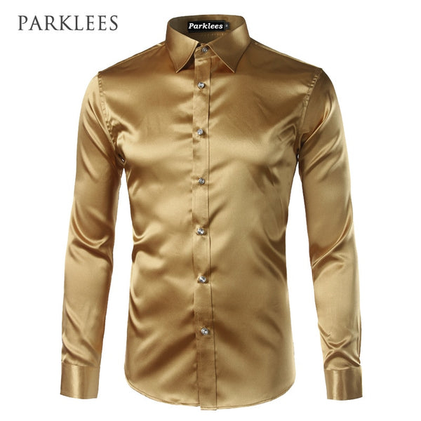 New Gold Silk Satin Shirt Men Chemise Homme  2017 Fashion Mens Slim Fit Long Sleeve Emulation Silk Button Down Dress Shirt Red