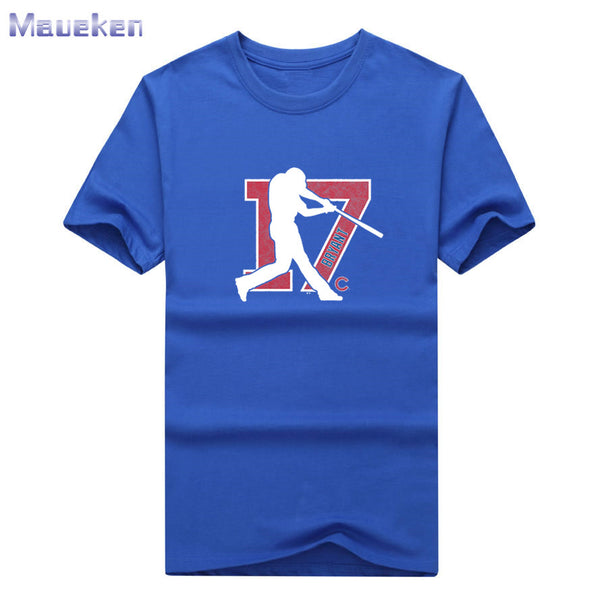 New Kris Bryant 17 logo Chicago t-SHIRT 100% cotton tee gift cool T Shirt Short Sleeve for cubs fans 0830-5